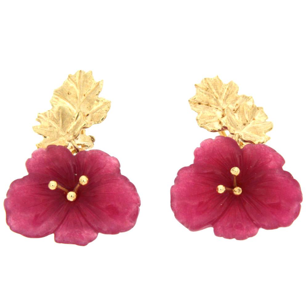 Orecchini argento e smalto forma di fiore fuscia