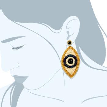 Orecchini con perline ricamate colori oro e blu