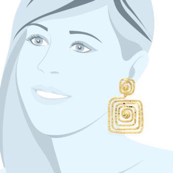 orecchini dorati square