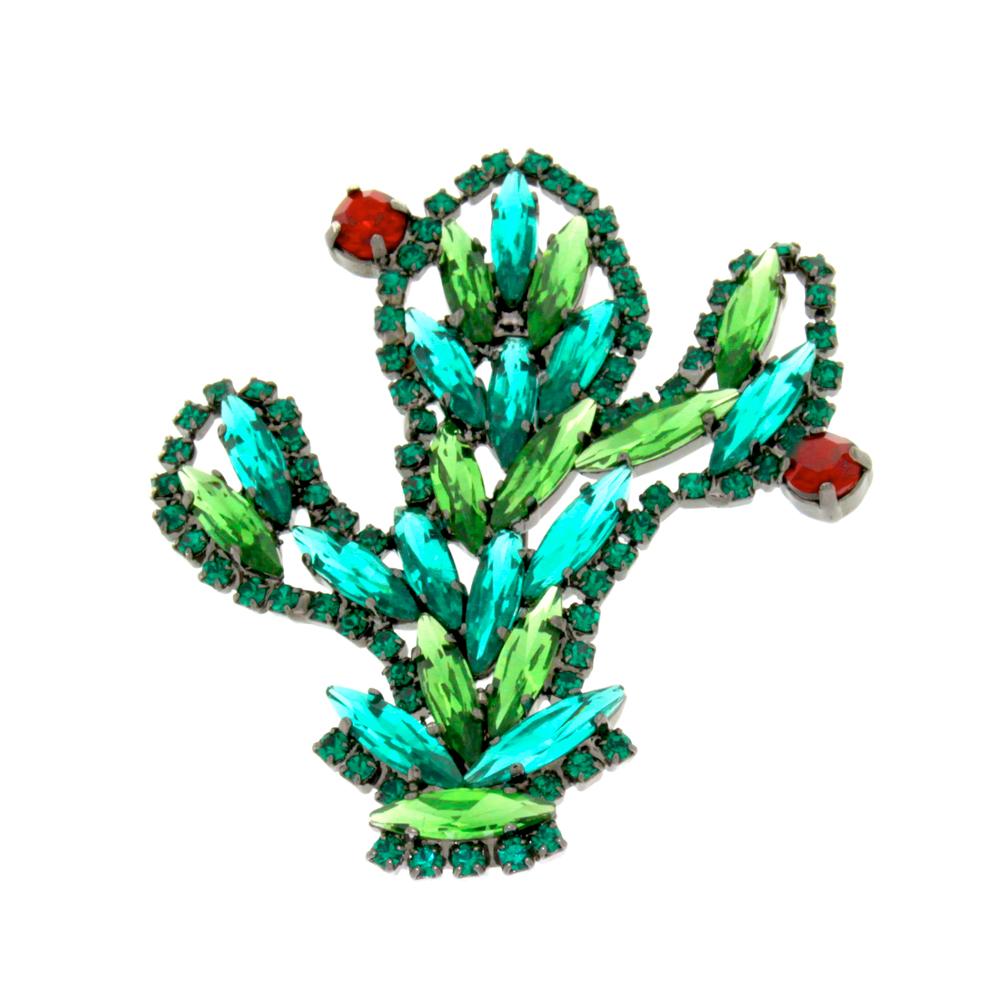 spilla a forma di cactus con cristalli Swarovski