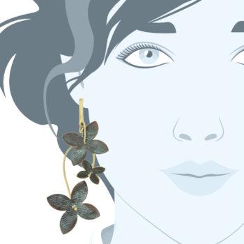 Orecchini fiore ottone ossidato-Nausica-