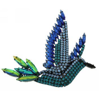 Spilla cristalli Colibrì Blu