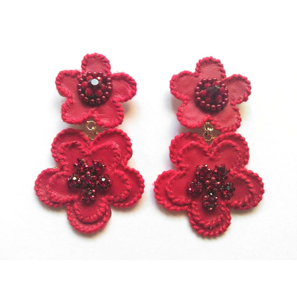 Orecchini clips fiore rosso