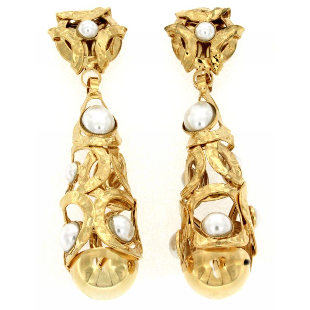 """Orecchini dorati goccia con perle""""Pearldrops"""""""