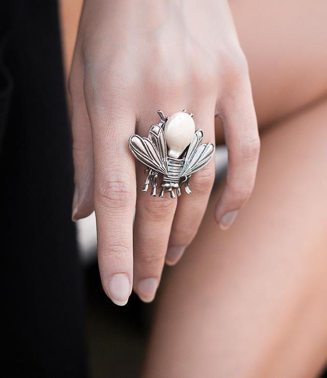 anello argento e perle