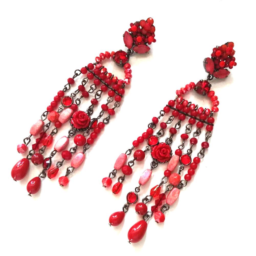 orecchini chandelier rossi Red Chelsea