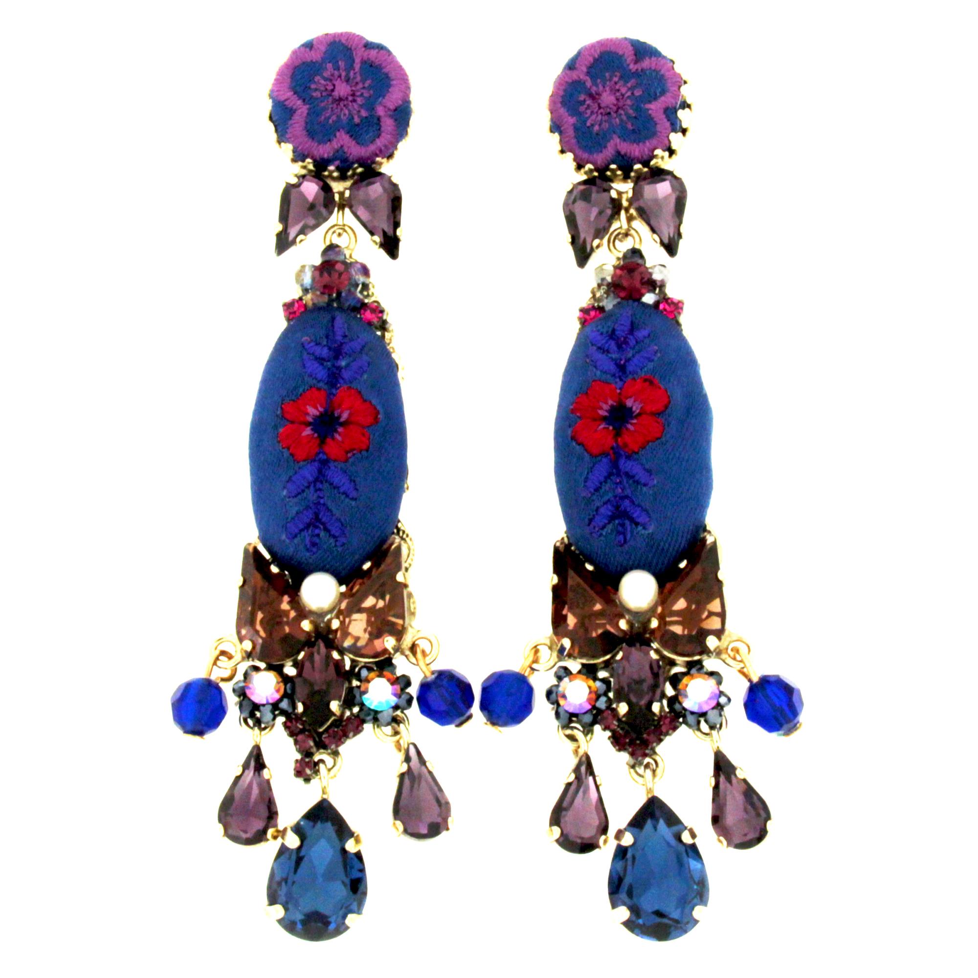 orecchini in seta Domino blu