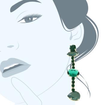 Orecchini cristalli verde smeraldo Greenovergreen
