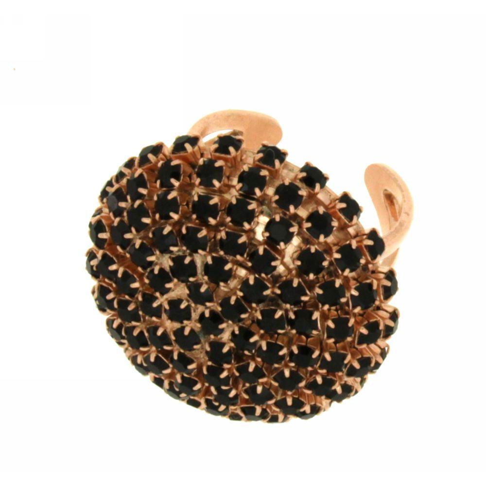 Anello cristalli neri Black Boule