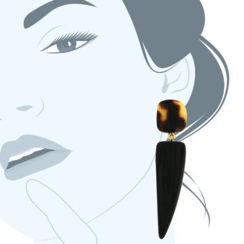 orecchini in resina nera Blackcorn