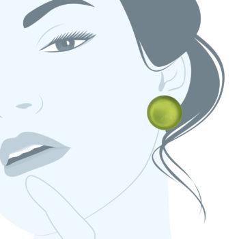 orecchini in resina a clips verdi Polo Acido