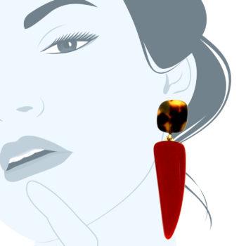 Orecchini in resina corno rosso Redcorn