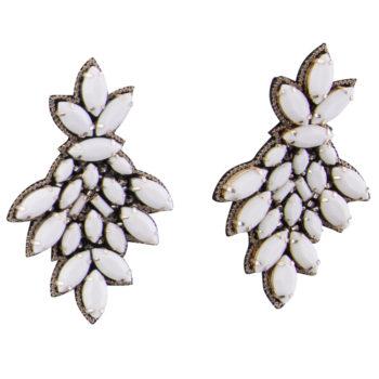 Orecchini pietre bianche opache Tripura Bianco