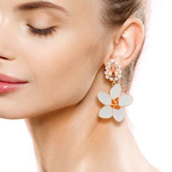 orecchini fiore smalto Frangipane