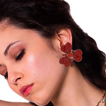 orecchini smalto rosso fiore Papavero