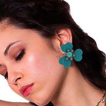 orecchini smalto turco fiore Papavero