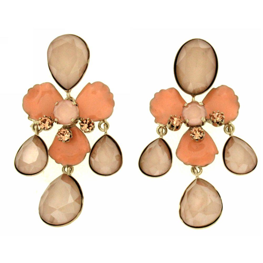 orecchini pietre rosa a forma di fiore Astrarosa