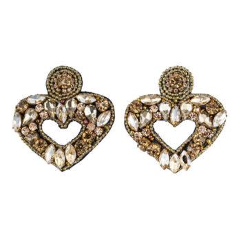 orecchini cuore cristalli dorati