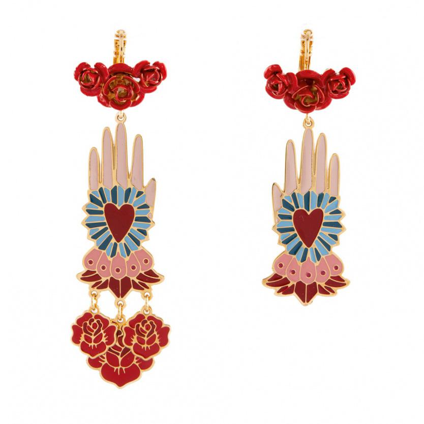orecchini smalto con manina e rose rosse