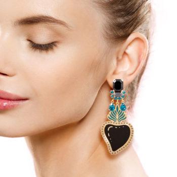 orecchini cuore smalto nero e swarovski