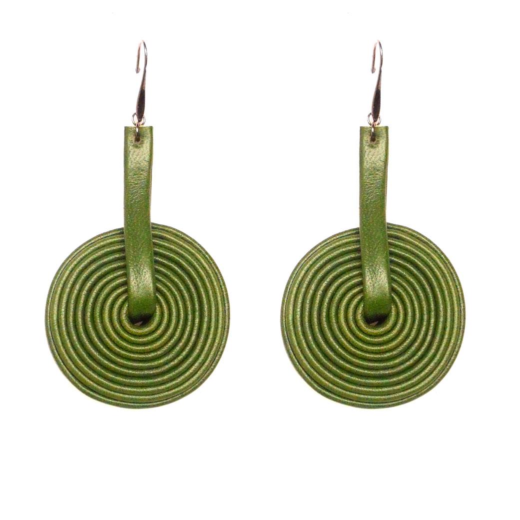 orecchino pelle verde muschio a disco
