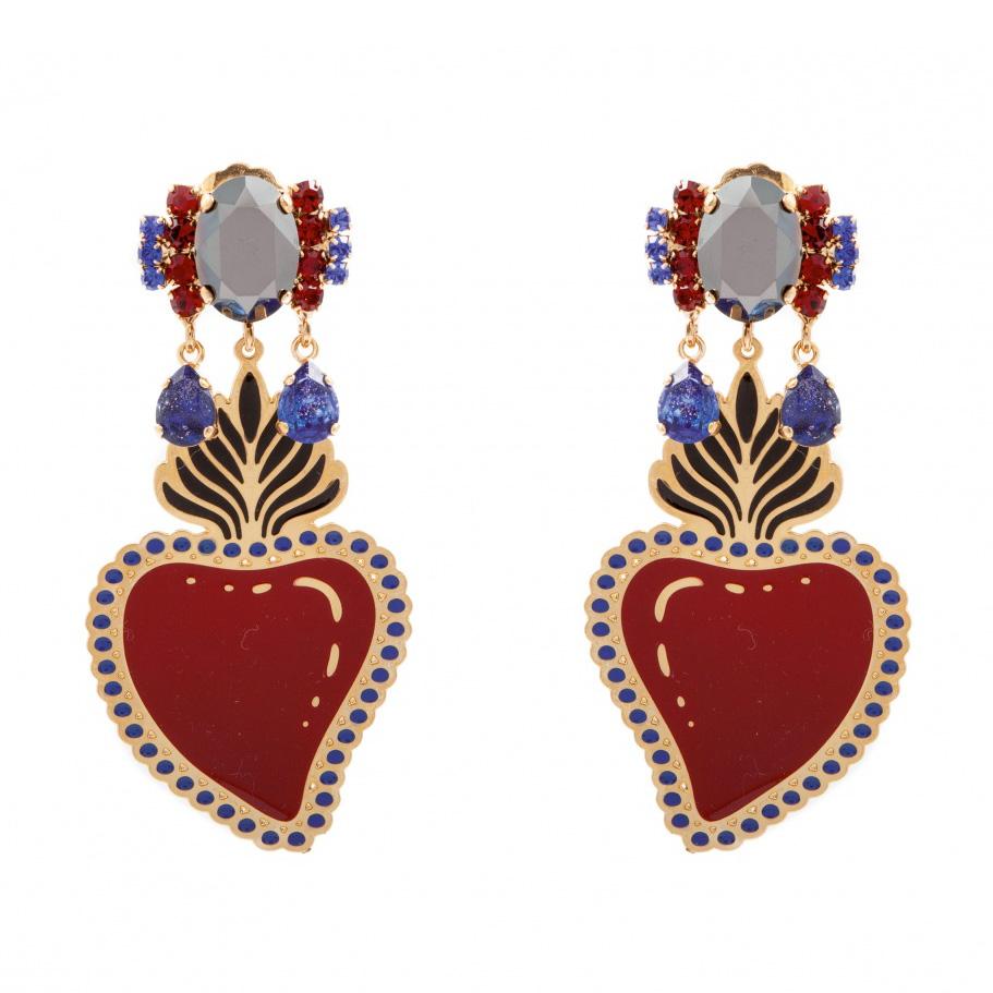 orecchini smalto cuore rosso pendente e cristalli Sacred Heart