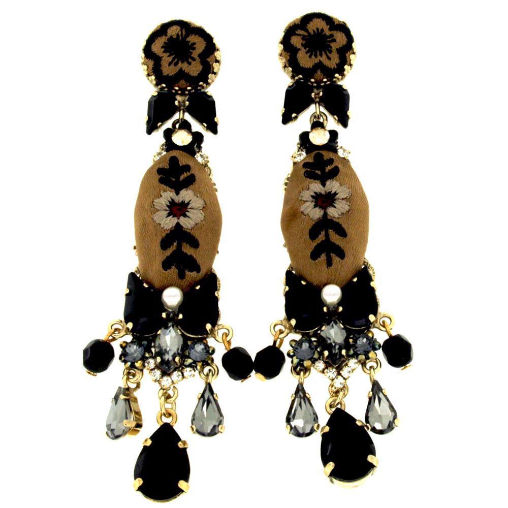 orecchini seta ricamata Domino Glacé
