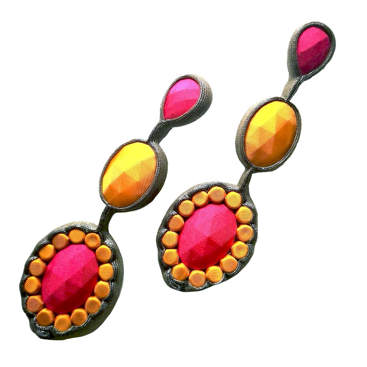 orecchini tessili arancioni Luxgem Due