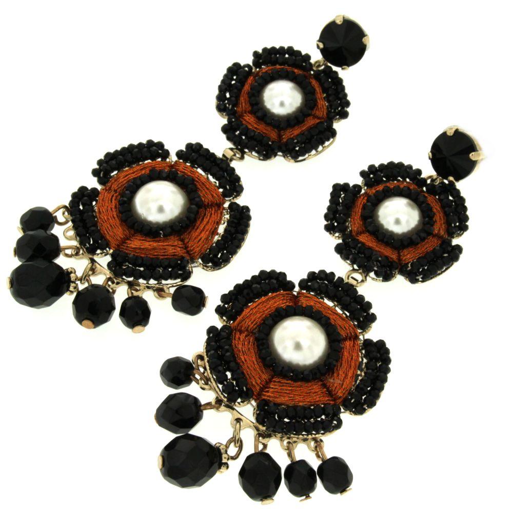 orecchini neri pendenti eleganti con perle Penelope