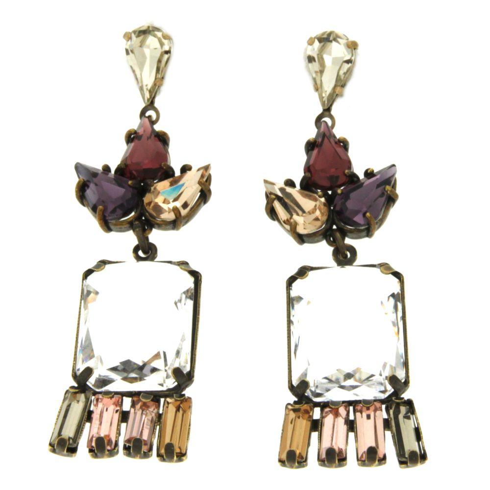 orecchino cristalli rosa-grigio stile deco