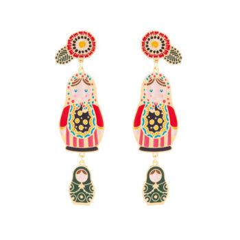 orecchini smalto bambolina colorata