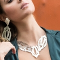 Collana in argento al naturale design artigianale