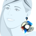 Orecchini in gomma, silicone e colori anallergici blu bianco, grigio e rosso.