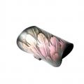 Bracciale in pelle dipinto a mano con piume rosa e blu