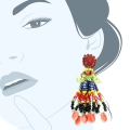 Orecchini a nappina lunga con perline colorate