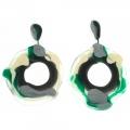 Orecchini designer in gomma e silicone Macha verde