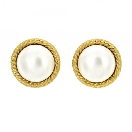 """orecchini a clips con perla""""Boules de neige d'or"""""""