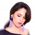 Orecchini pendenti frange Teso in lilla