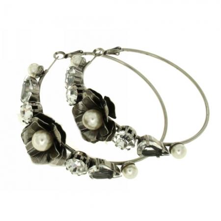 Orecchini cerchio con perle Pearlflower
