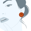 orecchini resina clips Polo Arancio