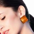 Orecchini a lobo resina colorata Polo Arancio