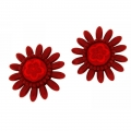 orecchini clips a fiore rosso Daisyred