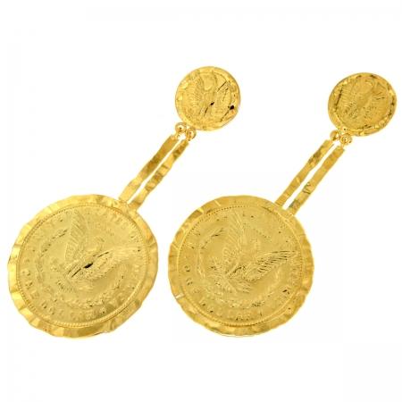 orecchini moneta placcati Dollargirl