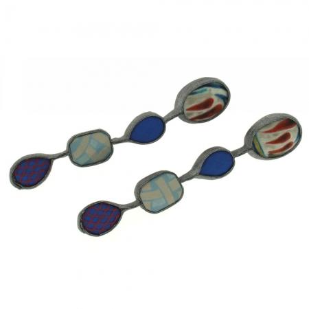 orecchini artigianali in tessuto blue netgem 4