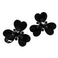 orecchini smalto nero fiore Papavero Rock