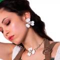orecchini smalto nero fiore Papavero White