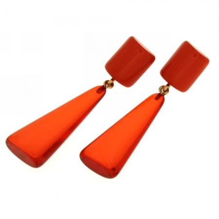 Orecchini resina trasparente arancio Anny T3