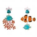 Orecchini smalto Pesce Corallo