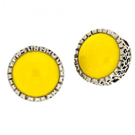 orecchino lobo anni 60 giallo Pastiglia Gialla
