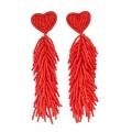 orecchini pendenti perline rosse